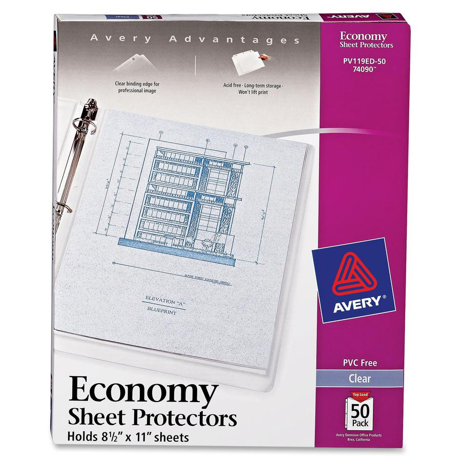 """Avery® Economy-Weight Sheet Protectors - For Letter 8 1/2"""" x 11"""" Sheet - Clear - Polypropylene - 50 / Box. Picture 3"""