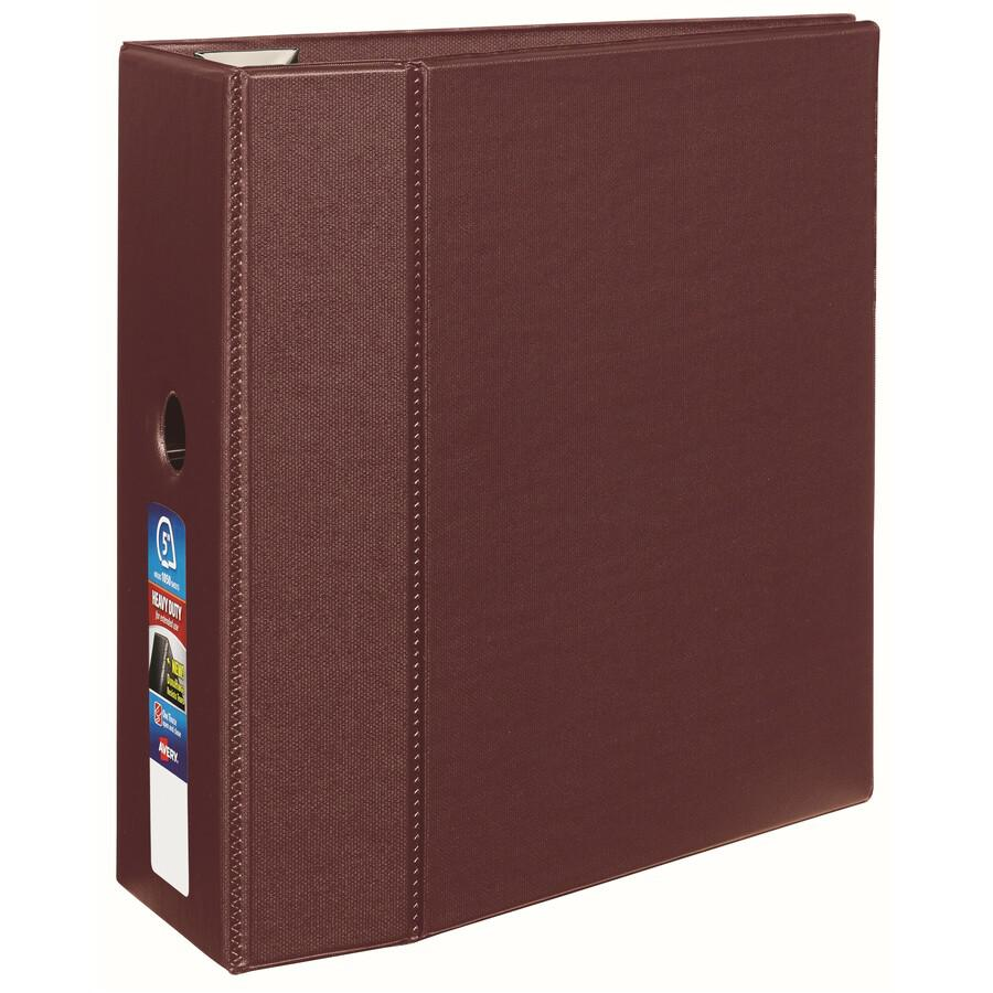 """Avery® 5"""" Heavy-Duty Binder - 5"""" Binder Capacity - Letter - 8 1/2"""" x 11"""" Sheet Size - 1050 Sheet Capacity - Ring Fastener(s) - 4 Internal Pocket(s) - Polypropylene - Maroon - Recycled - Pocket, He. Picture 4"""