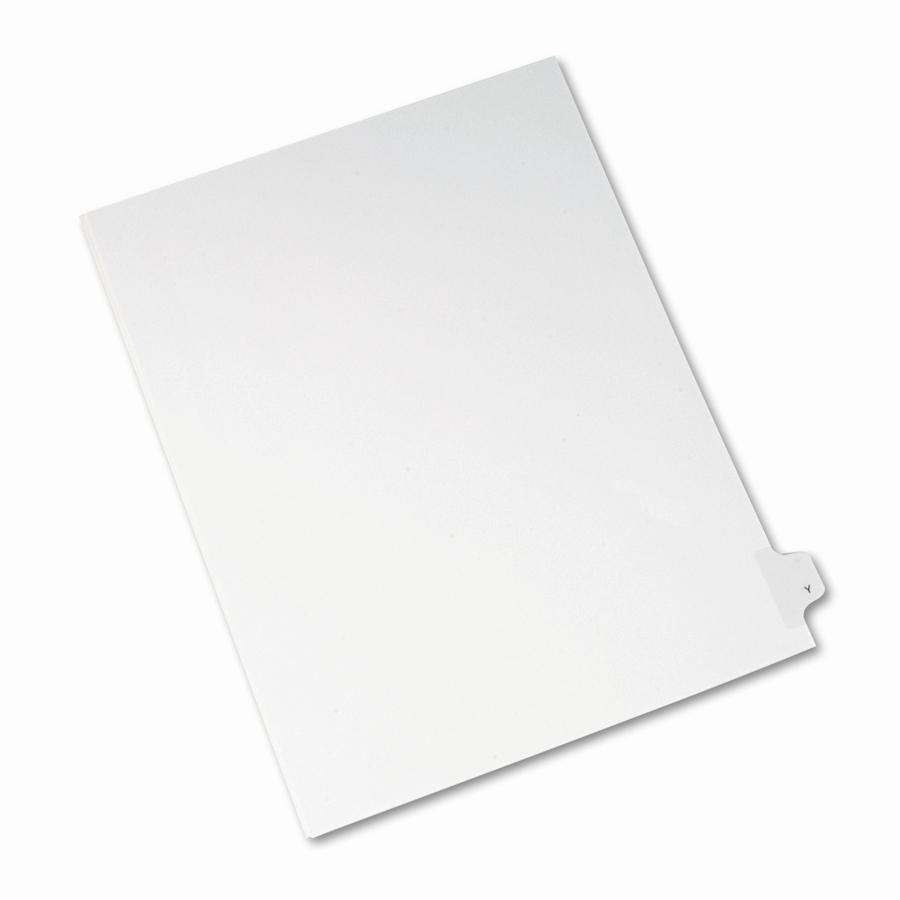 """Avery® Side Tab Individual Legal Dividers - 25 x Divider(s) - Side Tab(s) - Y - 1 Tab(s)/Set - Letter - 8 1/2"""" Width x 11"""" Length - White Paper Divider - 1. Picture 2"""
