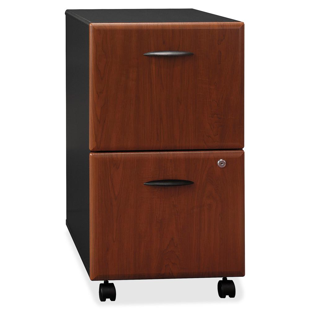 Bush Business Furniture Series A 2 Drawer Mobile File Cabinet, Assembled, Hansen Cherry/Galaxy. Picture 9
