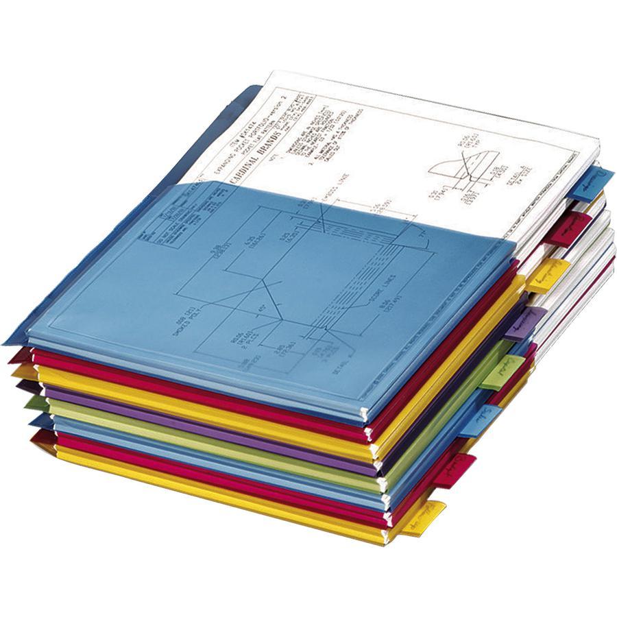 "Cardinal Expanding Pocket Poly Divider - 8 x Divider(s) - 8 Tab(s)/Set - 9.8"" Divider Width x 11.50"" Divider Length - Letter - 8 1/2"" Width x 11"" Length - 3 Hole Punched - Assorted Polyethylene Divide. Picture 3"