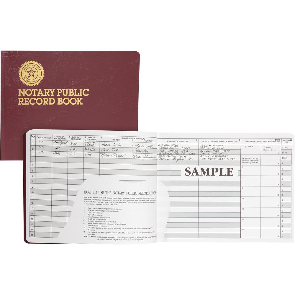 """Dome Notary Public Book - 64 Sheet(s) - Thread Sewn - 10 1/2"""" x 8 1/4"""" Sheet Size - 10 Columns per Sheet - Burgundy - White Sheet(s) - Maroon Cover - Recycled - 1 Each. Picture 5"""