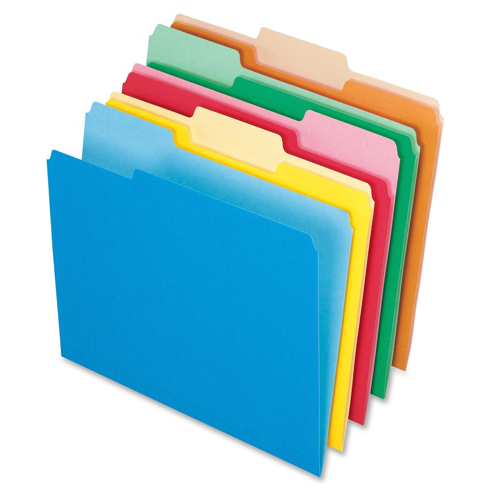 """Pendaflex Two-tone Color File Folders - Letter - 8 1/2"""" x 11"""" Sheet Size - 1/3 Tab Cut - Top Tab Location - Assorted Position Tab Position - 11 pt. Folder Thickness - Assorted - 100 / Box. Picture 2"""