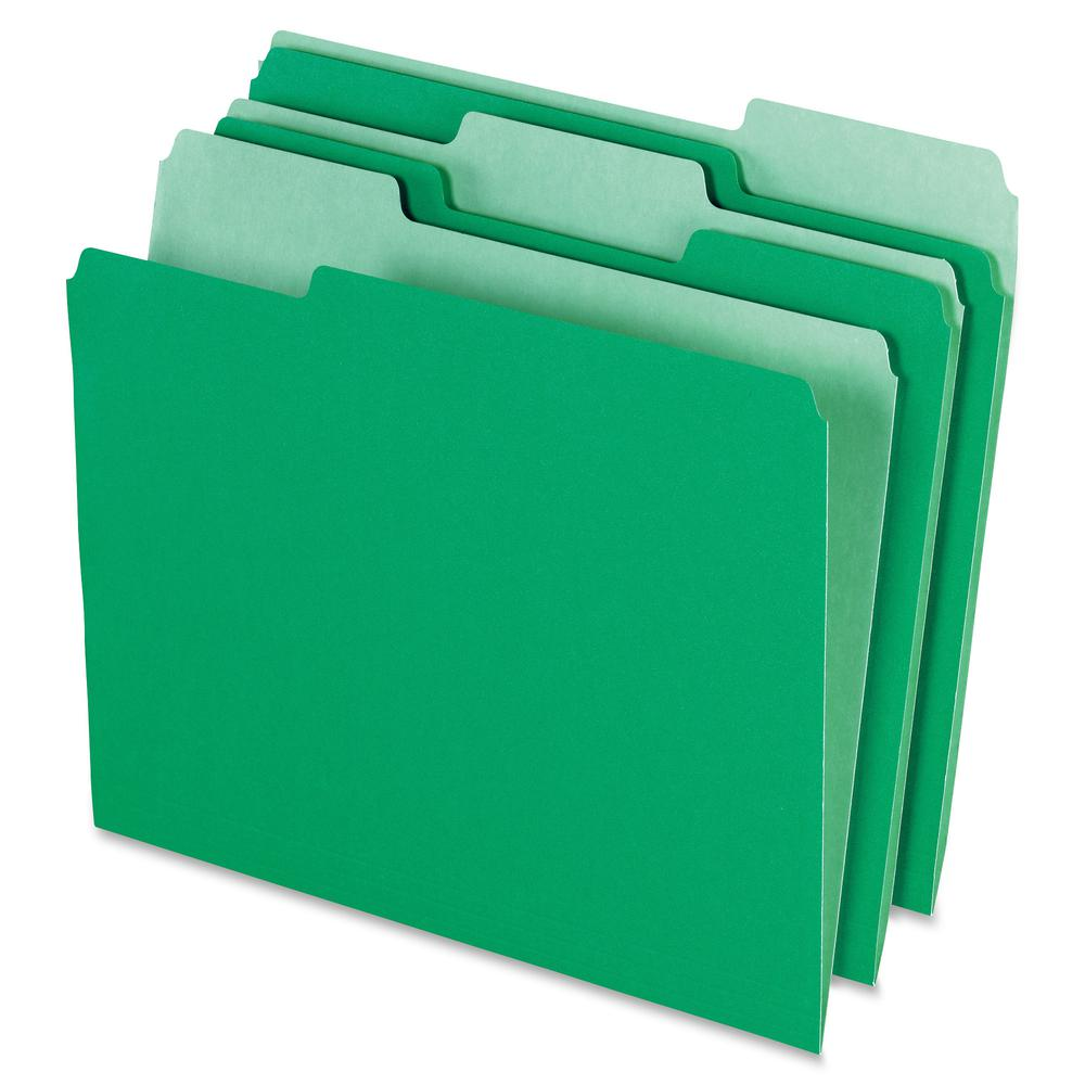 "Pendaflex 1/3 Tab Cut Letter Recycled Top Tab File Folder - 8 1/2"" x 11"" - Top Tab Location - Assorted Position Tab Position - Green - 10% - 100 / Box. Picture 2"