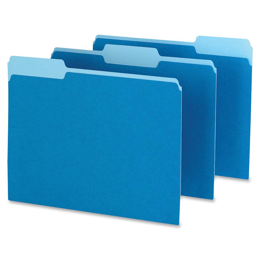 "Pendaflex Two-tone Color File Folders - Letter - 8 1/2"" x 11"" Sheet Size - 1/3 Tab Cut - Top Tab Location - Assorted Position Tab Position - 11 pt. Folder Thickness - Blue - Recycled - 100 / Box. Picture 2"