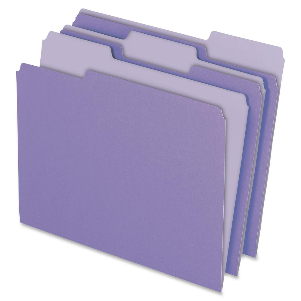"Pendaflex 1/3 Tab Cut Letter Recycled Top Tab File Folder - 8 1/2"" x 11"" - Top Tab Location - Assorted Position Tab Position - Lavender - 10% - 100 / Box. Picture 2"