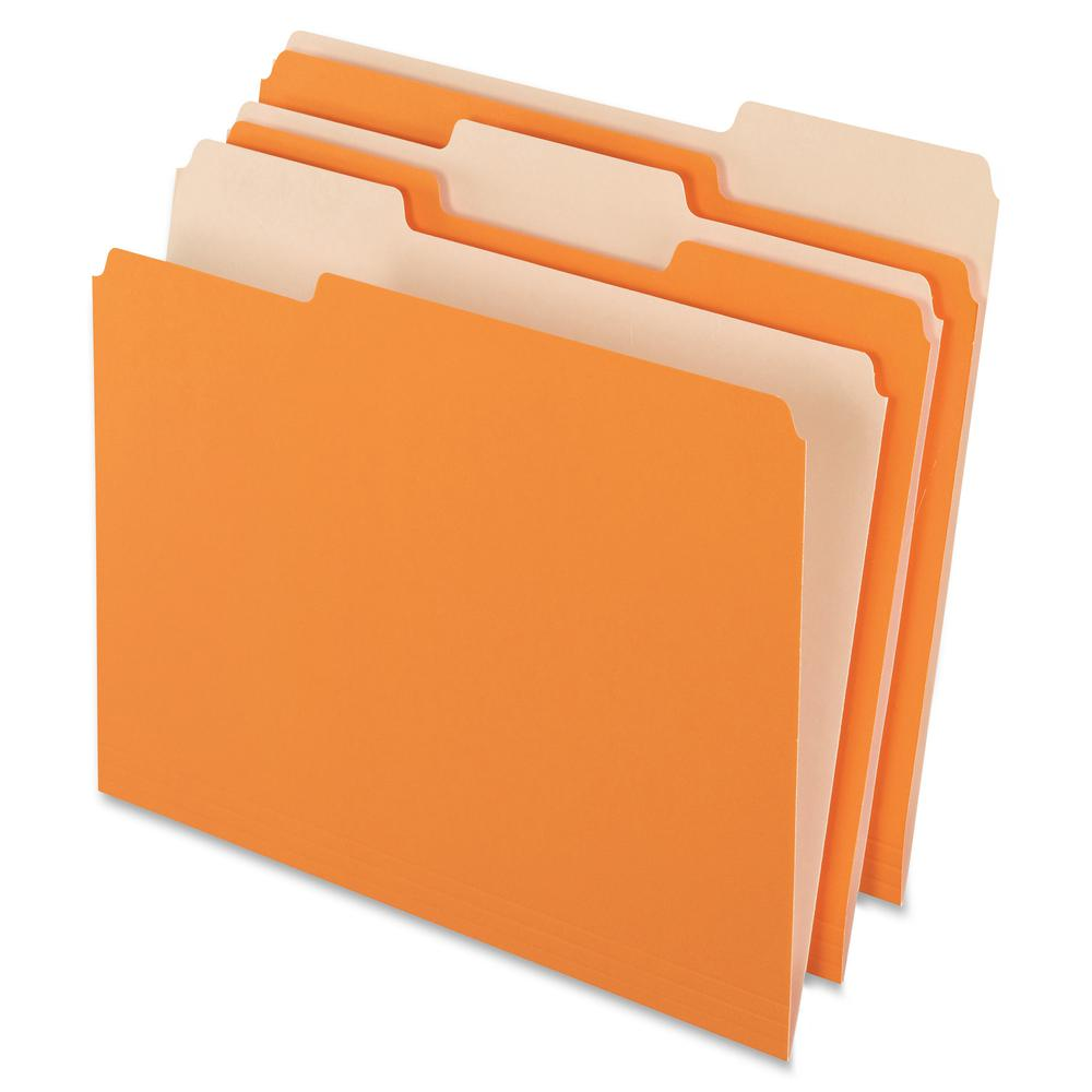 "Pendaflex 1/3 Tab Cut Letter Recycled Top Tab File Folder - 8 1/2"" x 11"" - Top Tab Location - Assorted Position Tab Position - Orange - 10% - 100 / Box. Picture 2"