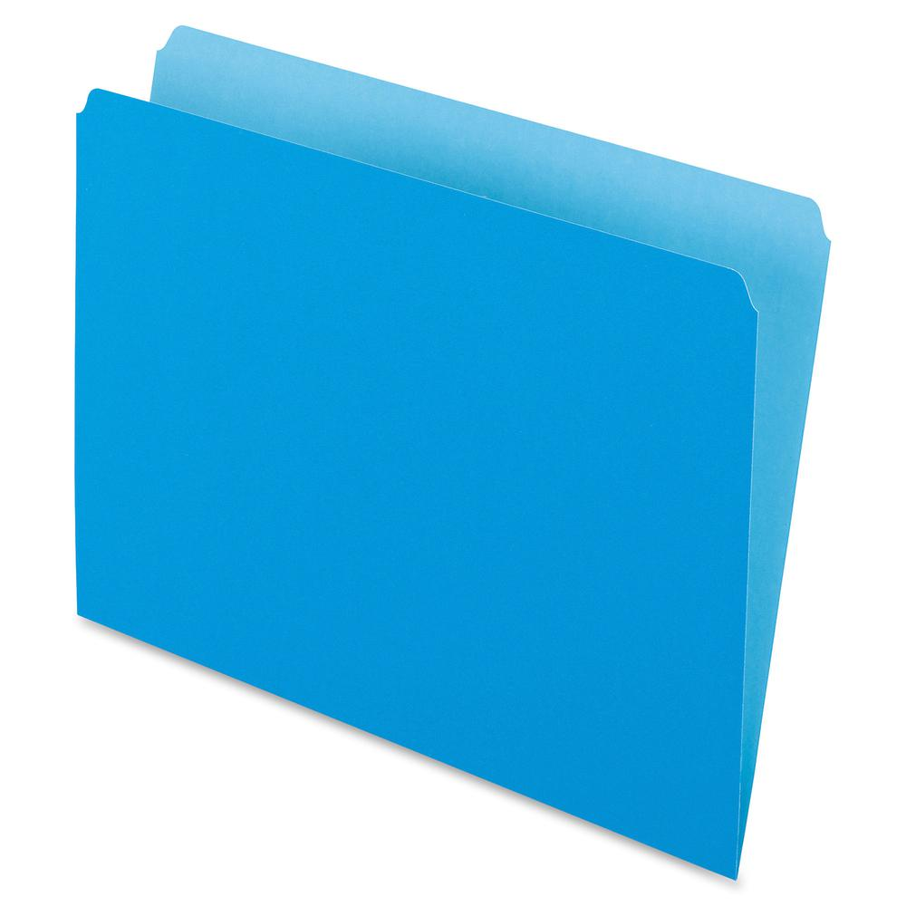 """Pendaflex Letter Recycled Top Tab File Folder - 8 1/2"""" x 11"""" - Blue - 30% - 100 / Box. Picture 2"""
