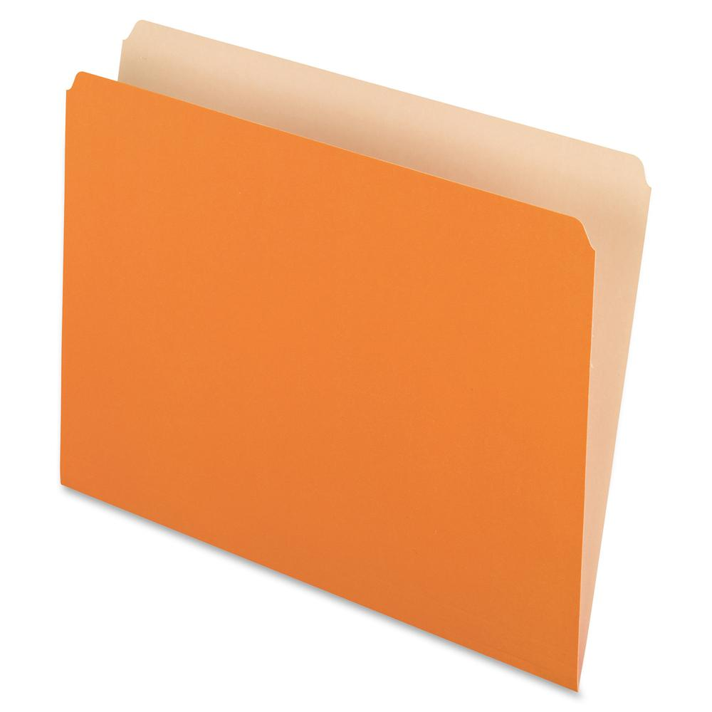 """Pendaflex Straight Cut Colored File Folders - Letter - 8 1/2"""" x 11"""" Sheet Size - 11 pt. Folder Thickness - Orange - Recycled - 100 / Box. Picture 2"""
