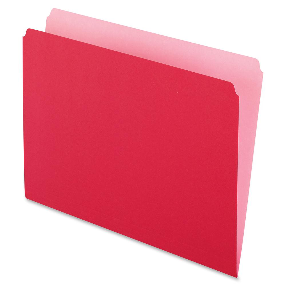 """Pendaflex Straight Cut Colored File Folders - Letter - 8 1/2"""" x 11"""" Sheet Size - 11 pt. Folder Thickness - Red - Recycled - 100 / Box. Picture 2"""