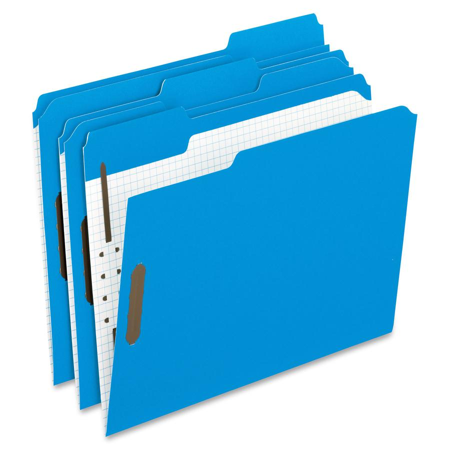 """Pendaflex 1/3 Tab Cut Letter Recycled Top Tab File Folder - 8 1/2"""" x 11"""" - 2"""" Expansion - 2 Fastener(s) - 2"""" Fastener Capacity for Folder - Top Tab Location - Assorted Position Tab Position - Blue - 1. Picture 2"""