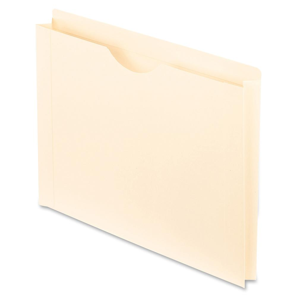 """Pendaflex Manila Reinforced File Jackets - Letter - 8 1/2"""" x 11"""" Sheet Size - 1 1/2"""" Expansion - 11 pt. Folder Thickness - Manila - Manila - Recycled - 50 / Box. Picture 2"""