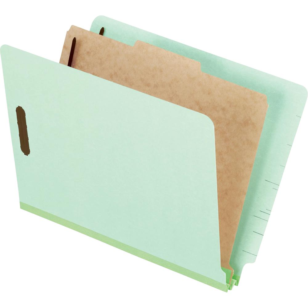 """Pendaflex Letter Recycled Classification Folder - 8 1/2"""" x 11"""" - 2"""" Expansion - 4 Fastener(s) - 2"""" Fastener Capacity for Folder, 1"""" Fastener Capacity for Divider - 1 Divider(s) - Pressboard - Light Gr. Picture 2"""