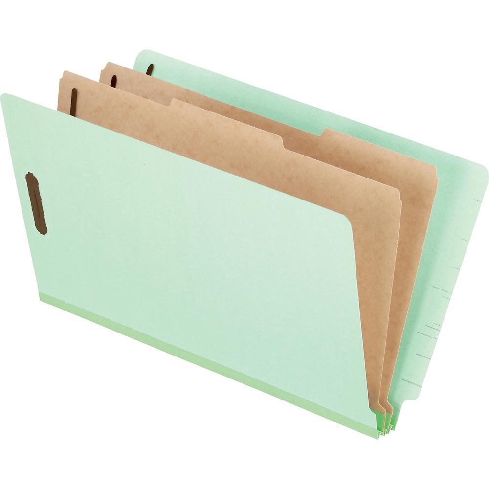 "Pendaflex Legal Recycled Classification Folder - 8 1/2"" x 14"" - 2"" Fastener Capacity for Folder - 2 Divider(s) - Pressboard - Light Green - 65% - 10 / Box. Picture 2"