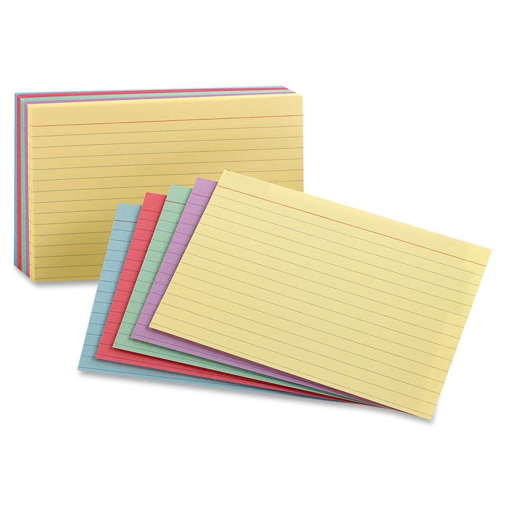 """Oxford Printable Index Card - 10% Recycled - 3"""" x 5"""" - 100 lb Basis Weight - 100 / Pack - Green, Canary, Violet, Blue, Cherry. Picture 2"""