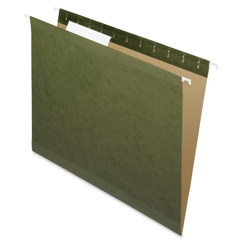 """Pendaflex 1/3 Tab Cut Letter Recycled Hanging Folder - 8 1/2"""" x 11"""" - Assorted Position Tab Position - Standard Green - 10% - 25 / Box. Picture 2"""