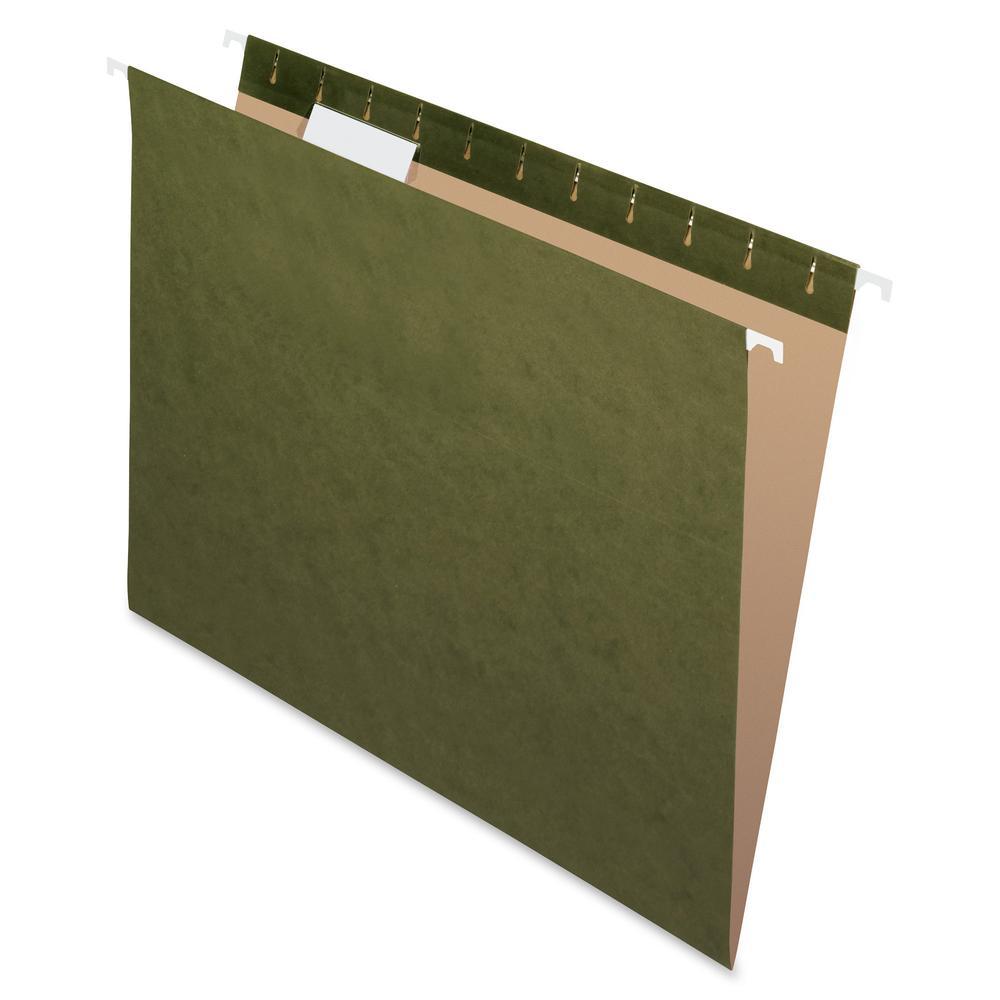 "Pendaflex Reinforced 1/5Cut Hanging Folder - Letter - 8 1/2"" x 11"" Sheet Size - Internal Pocket(s) - 1/5 Tab Cut - Standard Green - Recycled - 25 / Box. Picture 2"