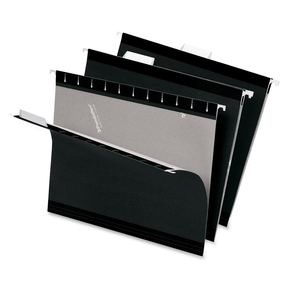 "Pendaflex 1/5 Tab Cut Letter Recycled Hanging Folder - 8 1/2"" x 11"" - Black - 10% - 25 / Box. Picture 4"