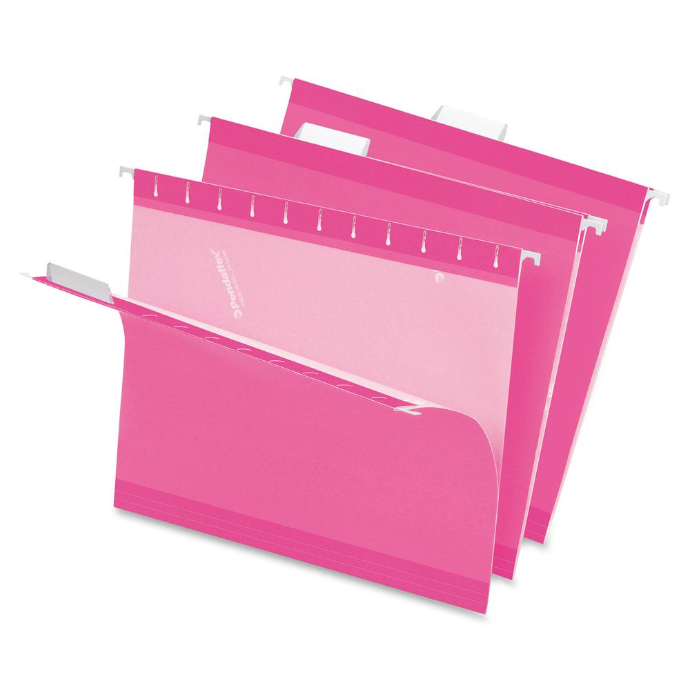 """Pendaflex 1/5 Tab Cut Letter Recycled Hanging Folder - 8 1/2"""" x 11"""" - Pink - 10% - 25 / Box. Picture 2"""
