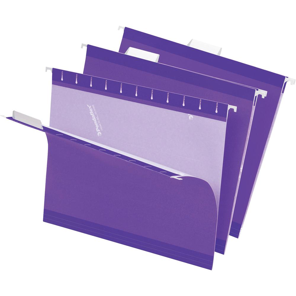 """Pendaflex 1/5 Tab Cut Letter Recycled Hanging Folder - 8 1/2"""" x 11"""" - Violet - 10% - 25 / Box. Picture 2"""