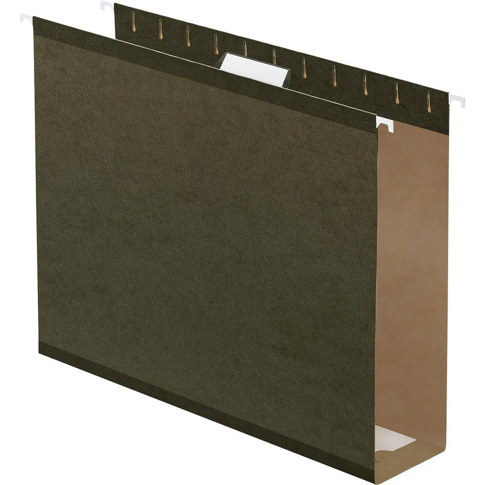 "Pendaflex Letter Recycled Hanging Folder - 3"" Folder Capacity - 8 1/2"" x 11"" - Folder - Pressboard - Standard Green - 10% - 25 / Box. Picture 2"