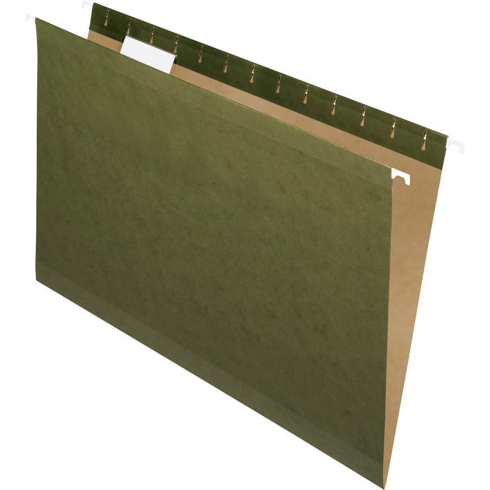 "Pendaflex 1/5 Tab Cut Legal Recycled Hanging Folder - 8 1/2"" x 14"" - Standard Green - 10% - 25 / Box. Picture 2"