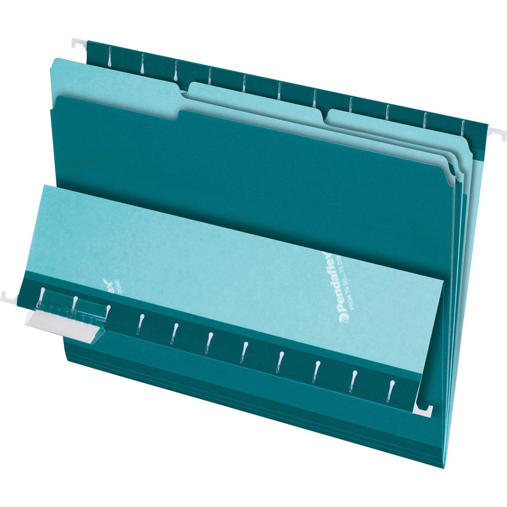 """Pendaflex 1/3-cut Tab Color-coded Interior Folders - Letter - 8 1/2"""" x 11"""" Sheet Size - 1/3 Tab Cut - Teal - Recycled - 100 / Box. Picture 2"""