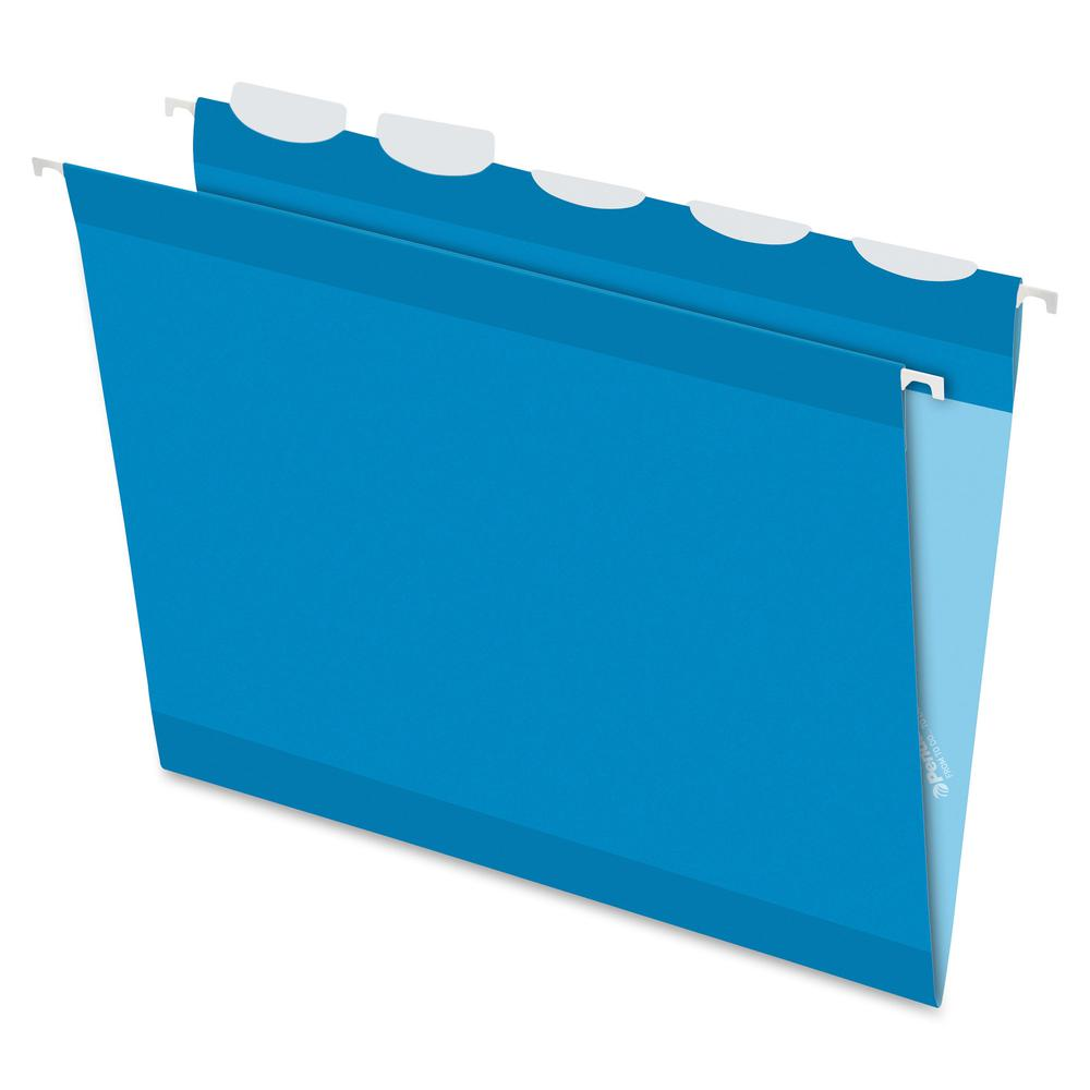 """Pendaflex Ready-Tab 1/5 Tab Cut Letter Recycled Hanging Folder - 8 1/2"""" x 11"""" - Blue - 10% - 25 / Box. Picture 2"""