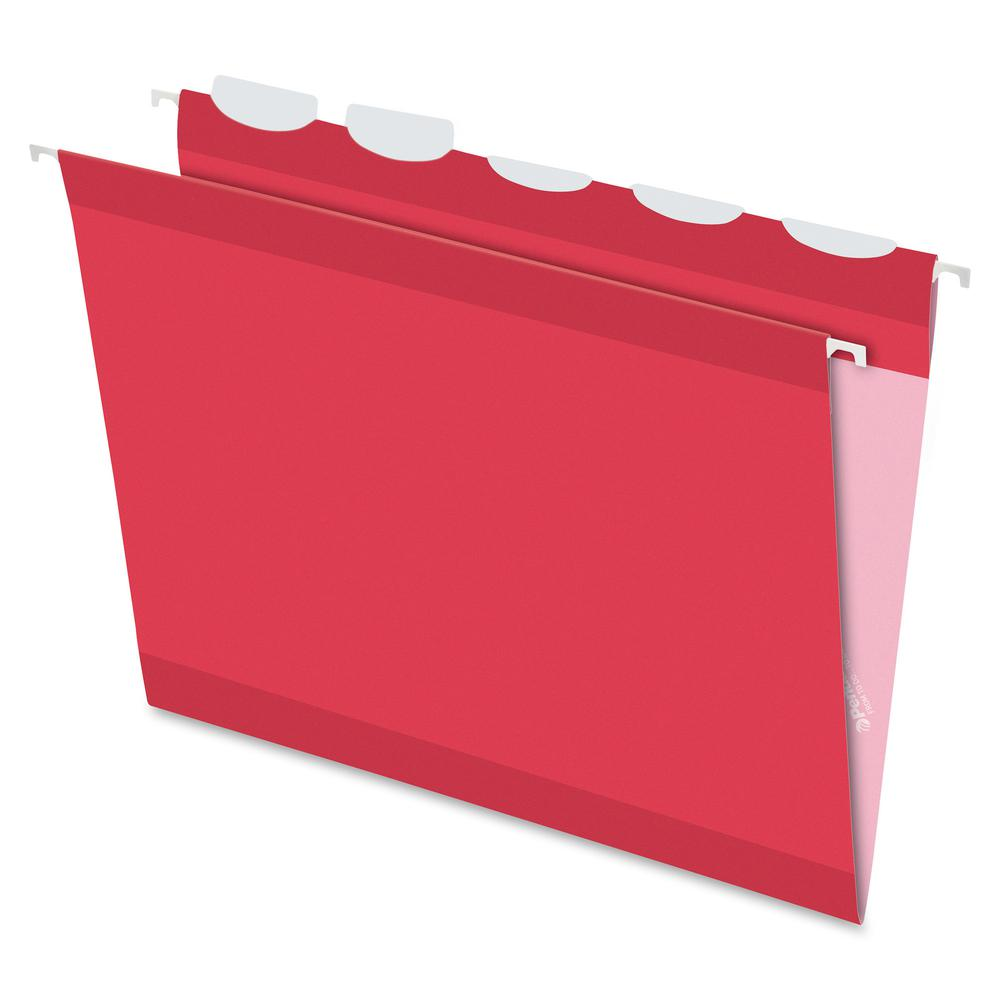"""Pendaflex Ready-Tab 1/5 Tab Cut Letter Recycled Hanging Folder - 8 1/2"""" x 11"""" - Red - 10% - 25 / Box. Picture 2"""