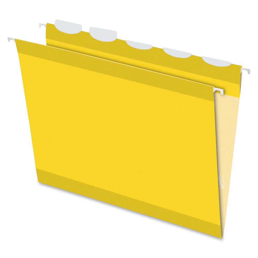 """Pendaflex Ready-Tab 1/5 Tab Cut Letter Recycled Hanging Folder - 8 1/2"""" x 11"""" - Yellow - 10% - 25 / Box. Picture 2"""