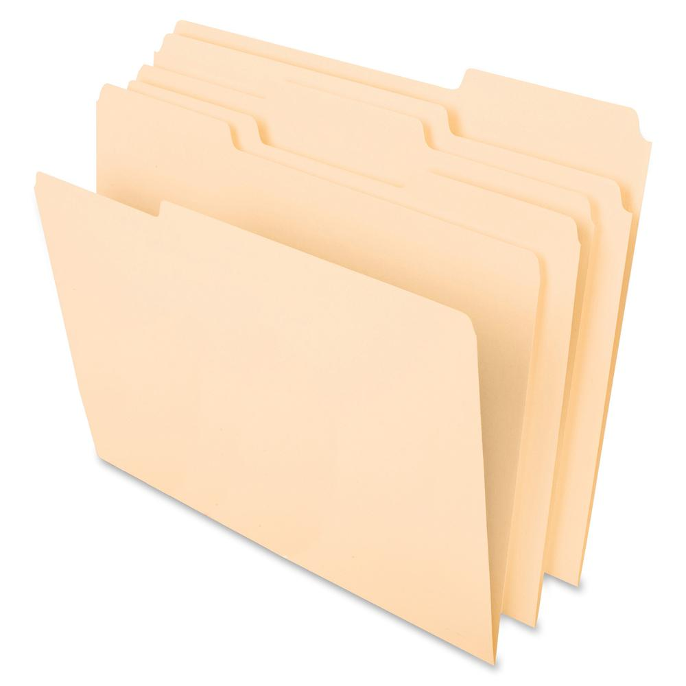 "Pendaflex 1/3 Tab Cut Letter Recycled Top Tab File Folder - 8 1/2"" x 11"" - Top Tab Location - Assorted Position Tab Position - Paper Stock - Manila - 30% - 100 / Box. Picture 2"