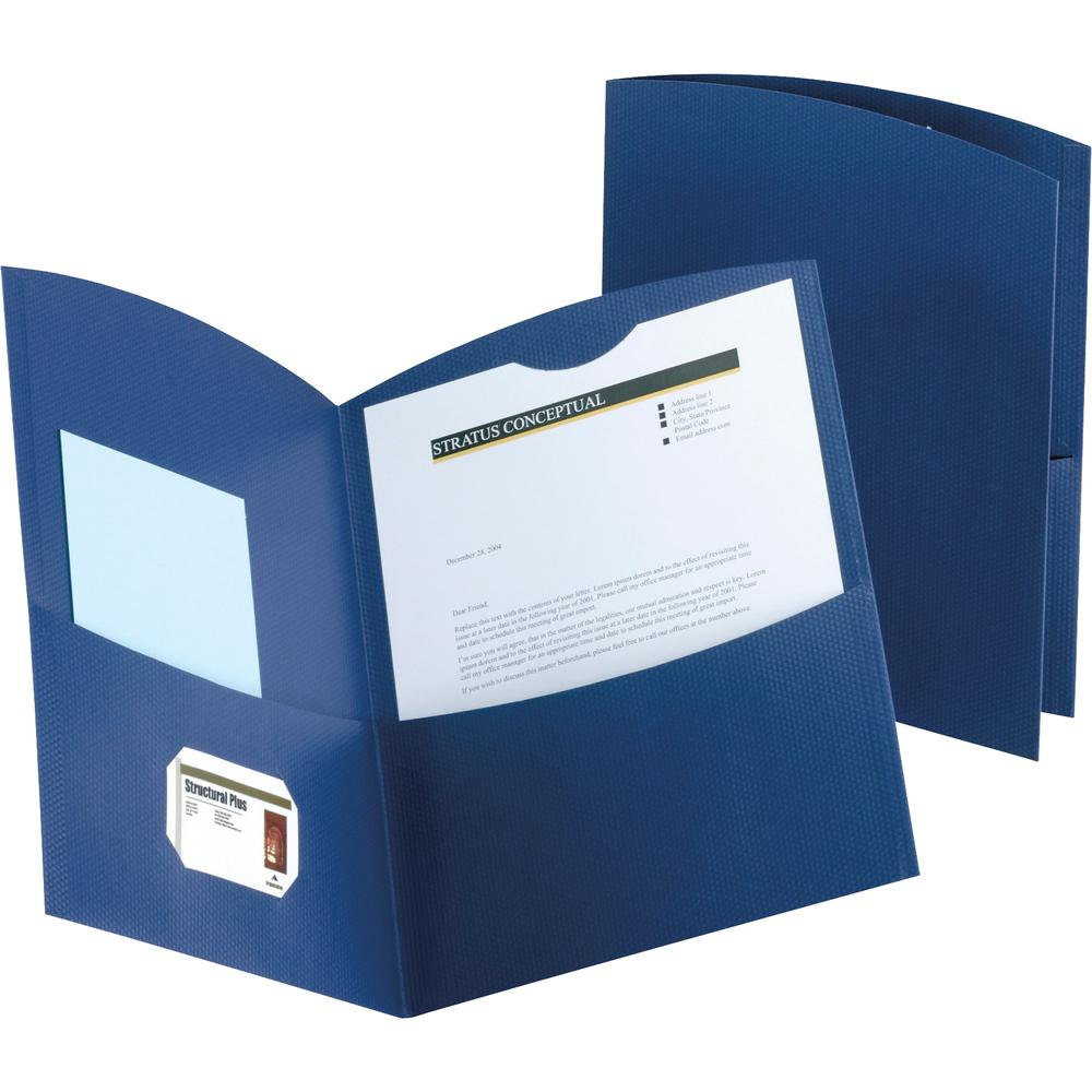 """Oxford Contour Letter Recycled Pocket Folder - 8 1/2"""" x 11"""" - 150 Sheet Capacity - 2 Pocket(s) - Embossed Paper - Dark Blue - 100% - 25 / Box. Picture 2"""