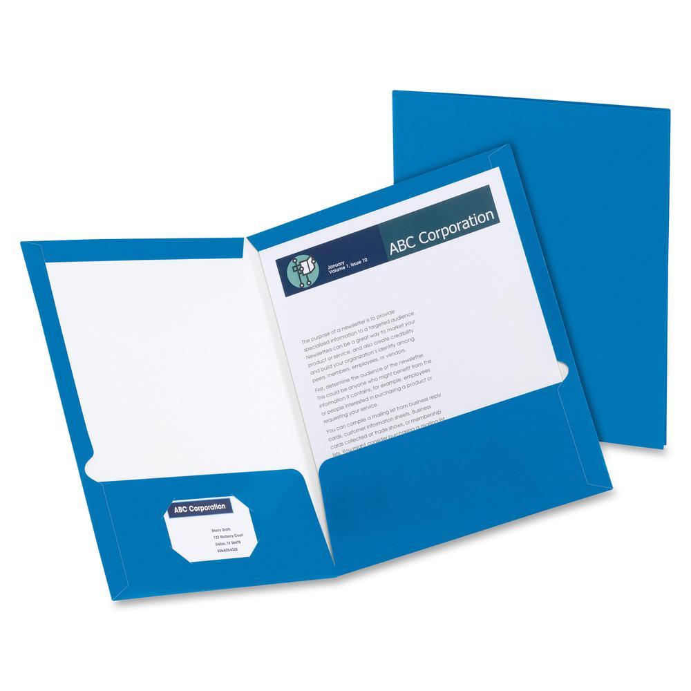"""Oxford Letter Pocket Folder - 8 1/2"""" x 11"""" - 2 Pocket(s) - Blue - 25 / Box. Picture 2"""