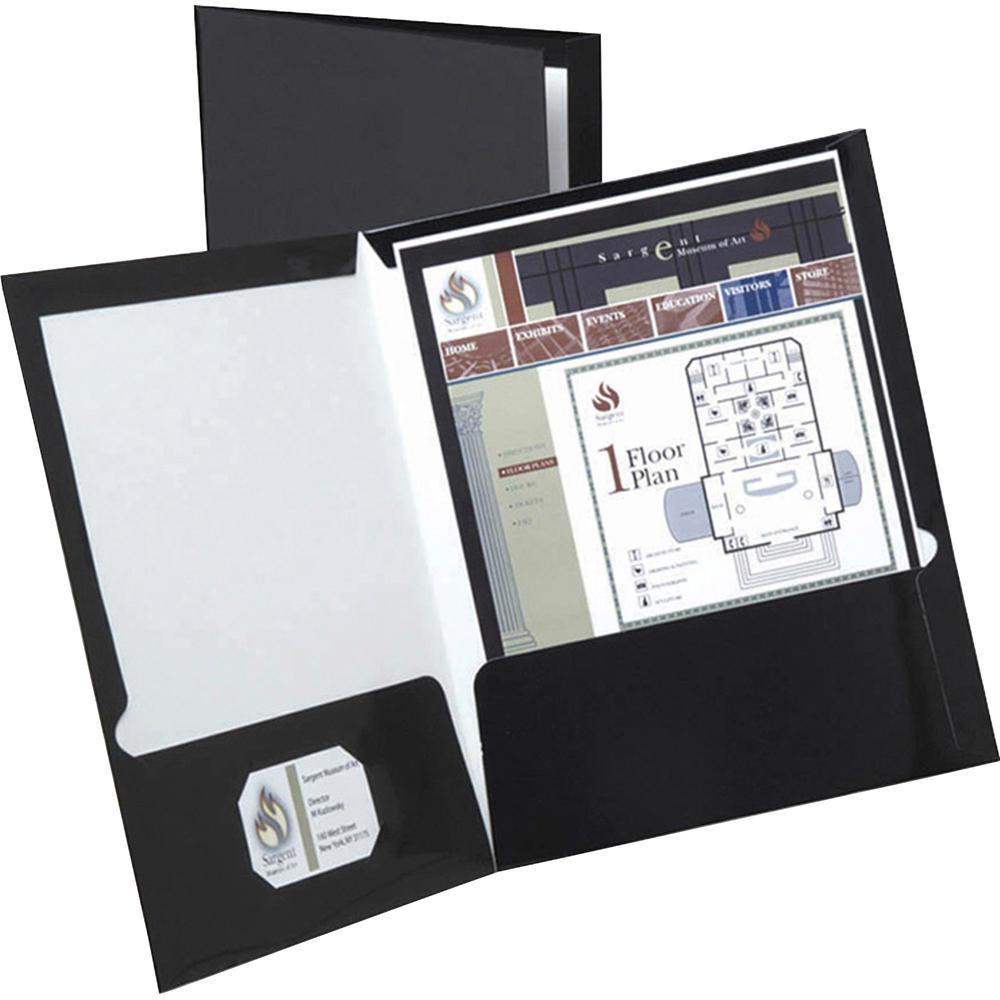 """Oxford Letter Pocket Folder - 8 1/2"""" x 11"""" - 2 Pocket(s) - Black - 25 / Box. Picture 2"""