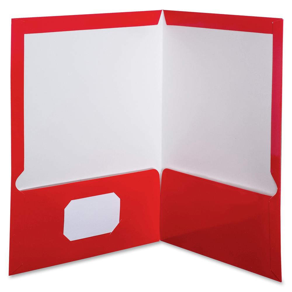 "Oxford Letter Pocket Folder - 8 1/2"" x 11"" - 100 Sheet Capacity - 2 Pocket(s) - Red - 25 / Box. Picture 3"