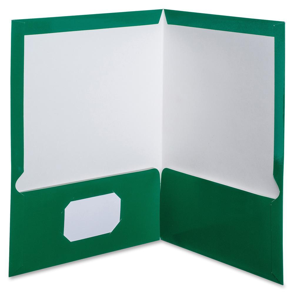 "Oxford Letter Pocket Folder - 8 1/2"" x 11"" - 100 Sheet Capacity - 2 Pocket(s) - Green - 25 / Box. Picture 2"