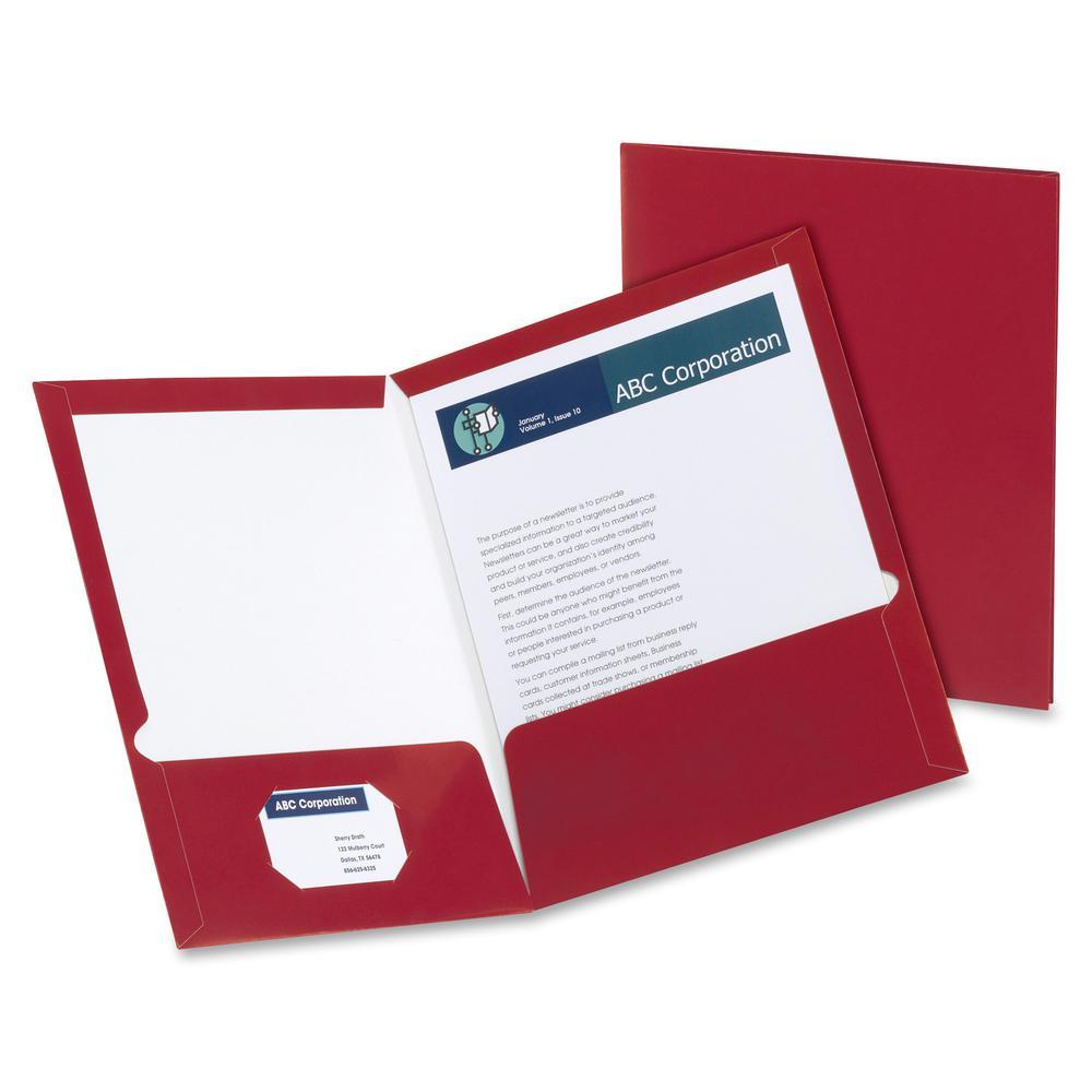 """Oxford Letter Pocket Folder - 8 1/2"""" x 11"""" - 2 Pocket(s) - Crimson Red - 25 / Box. Picture 2"""