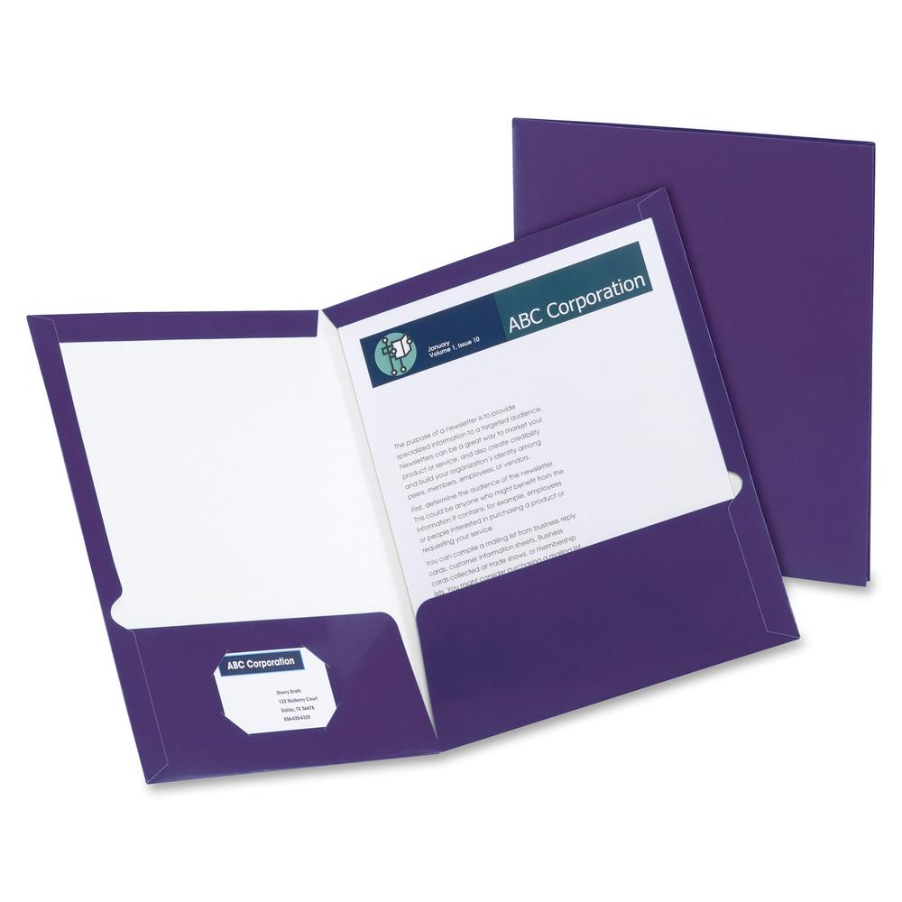 "Oxford Letter Pocket Folder - 8 1/2"" x 11"" - 100 Sheet Capacity - 2 Pocket(s) - Purple - 25 / Box. Picture 2"