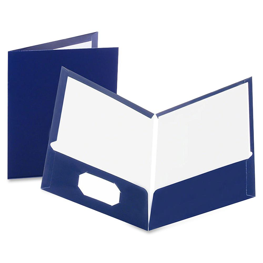"""Oxford Letter Pocket Folder - 8 1/2"""" x 11"""" - 100 Sheet Capacity - 2 Pocket(s) - Paperboard - Dark Blue - 25 / Box. Picture 2"""
