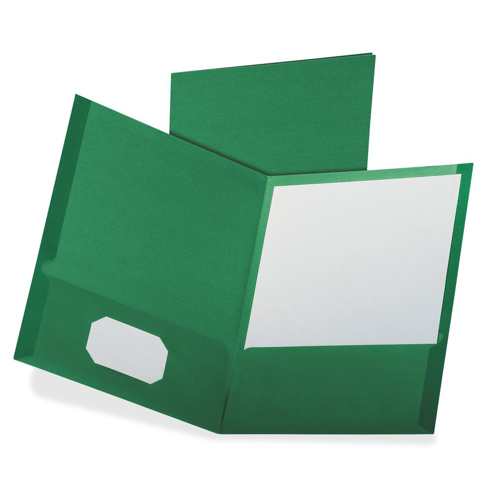 """Oxford Letter Recycled Pocket Folder - 8 1/2"""" x 11"""" - 100 Sheet Capacity - 2 Pocket(s) - Dark Green - 35% - 25 / Box. Picture 2"""