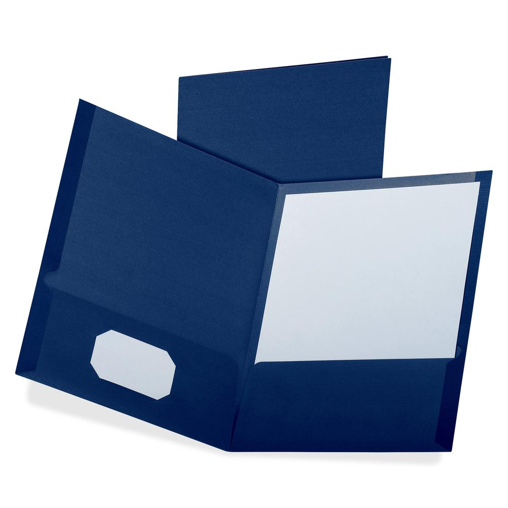 """Oxford Letter Recycled Pocket Folder - 8 1/2"""" x 11"""" - 100 Sheet Capacity - 2 Pocket(s) - Blue - 35% - 25 / Box. Picture 2"""