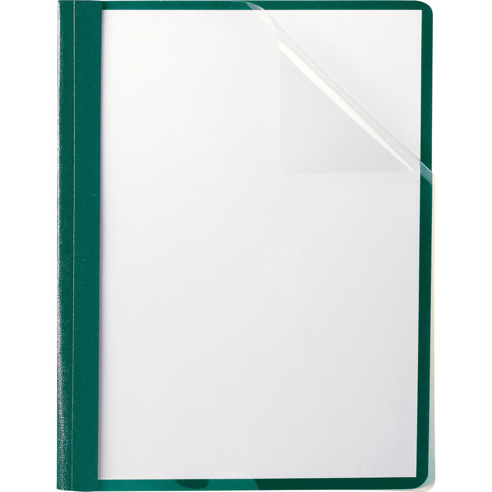 """Oxford Letter Recycled Report Cover - 8 1/2"""" x 11"""" - 100 Sheet Capacity - 3 x Tang Fastener(s) - 1/2"""" Fastener Capacity for Folder - Leatherette - Hunter Green - 10% - 25 / Box. Picture 2"""