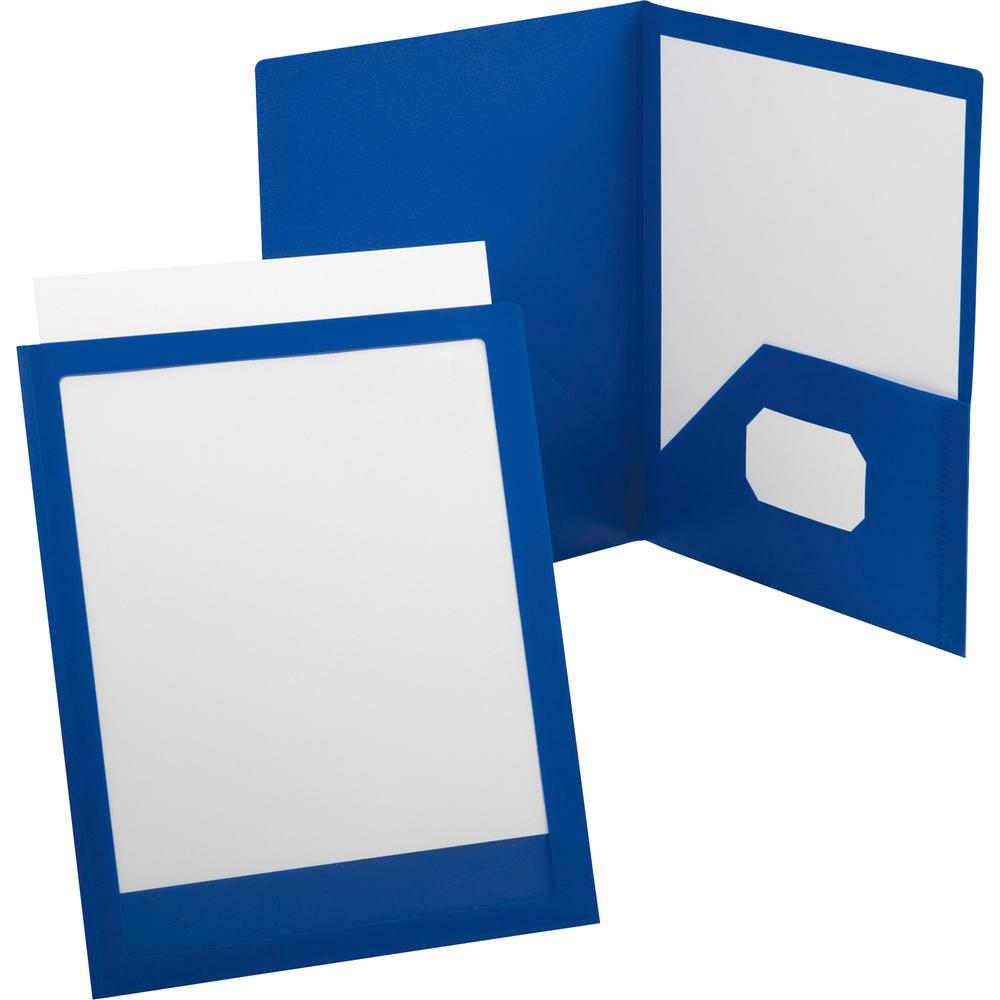 "Oxford ViewFolio Letter Pocket Folder - 8 1/2"" x 11"" , 9 1/2"" x 11 5/8"" - 2 Pocket(s) - Polypropylene - Blue - 1 Each. Picture 2"