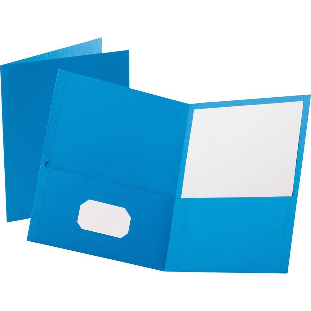 "Oxford Letter Recycled Pocket Folder - 8 1/2"" x 11"" - 100 Sheet Capacity - 2 Internal Pocket(s) - Leatherette Paper - Light Blue - 10% - 25 / Box. Picture 3"