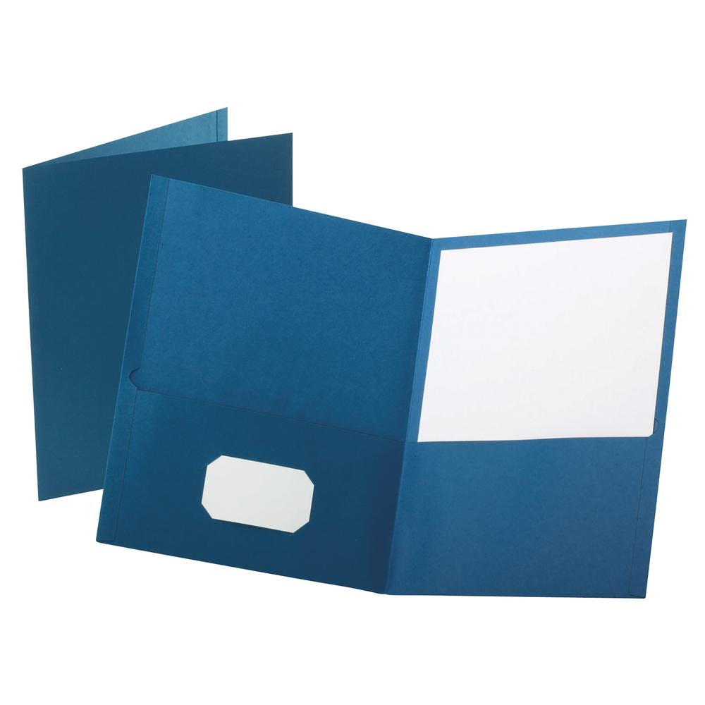"""Oxford Letter Recycled Pocket Folder - 8 1/2"""" x 11"""" - 100 Sheet Capacity - 2 Internal Pocket(s) - Leatherette Paper - Blue - 10% - 25 / Box. Picture 3"""