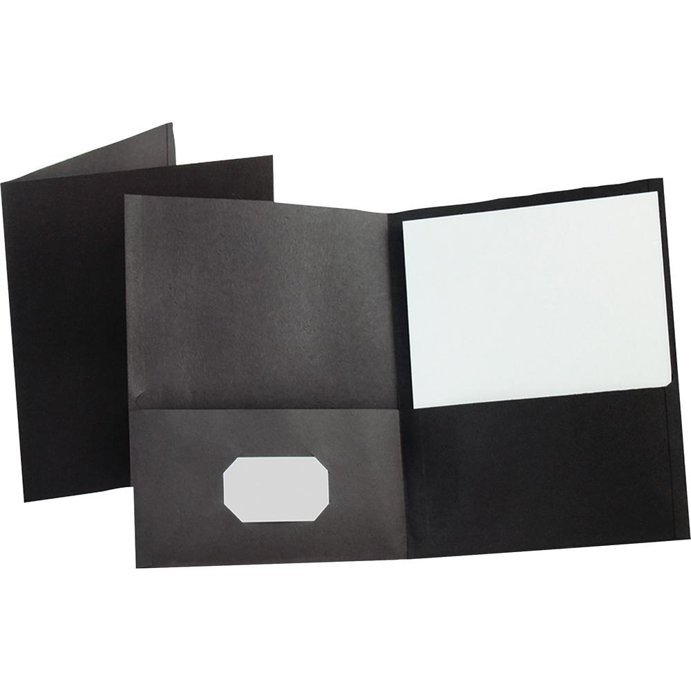 """Oxford Letter Recycled Pocket Folder - 8 1/2"""" x 11"""" - 100 Sheet Capacity - 2 Internal Pocket(s) - Leatherette Paper - Black - 10% - 25 / Box. Picture 3"""