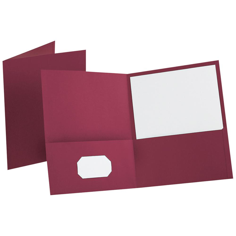 """Oxford Letter Recycled Pocket Folder - 8 1/2"""" x 11"""" - 100 Sheet Capacity - 2 Internal Pocket(s) - Leatherette Paper - Burgundy - 10% - 25 / Box. Picture 3"""