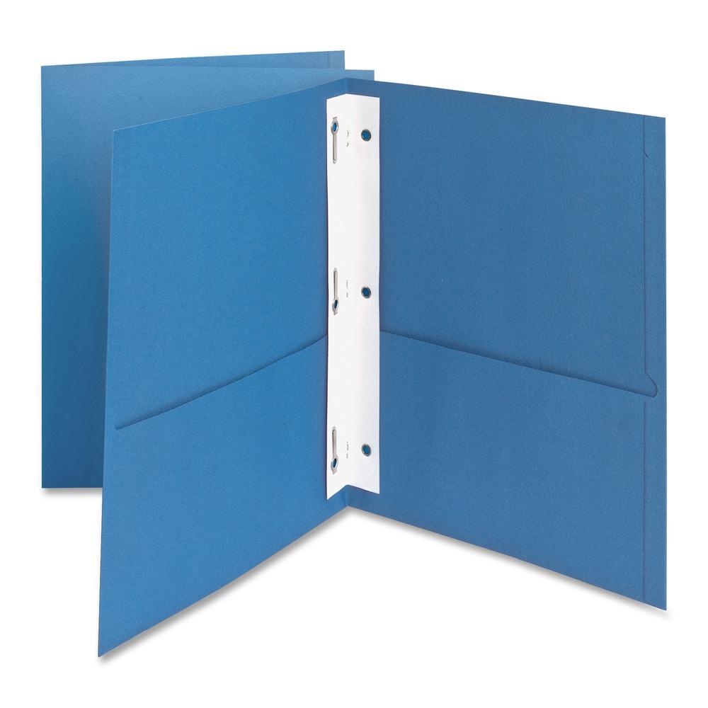 """Oxford Letter Recycled Pocket Folder - 8 1/2"""" x 11"""" - 85 Sheet Capacity - 3 Fastener(s) - 1/2"""" Fastener Capacity for Folder - 2 Inside Front & Back Pocket(s) - Leatherette Paper - Light Blue - 10% - 2. Picture 2"""