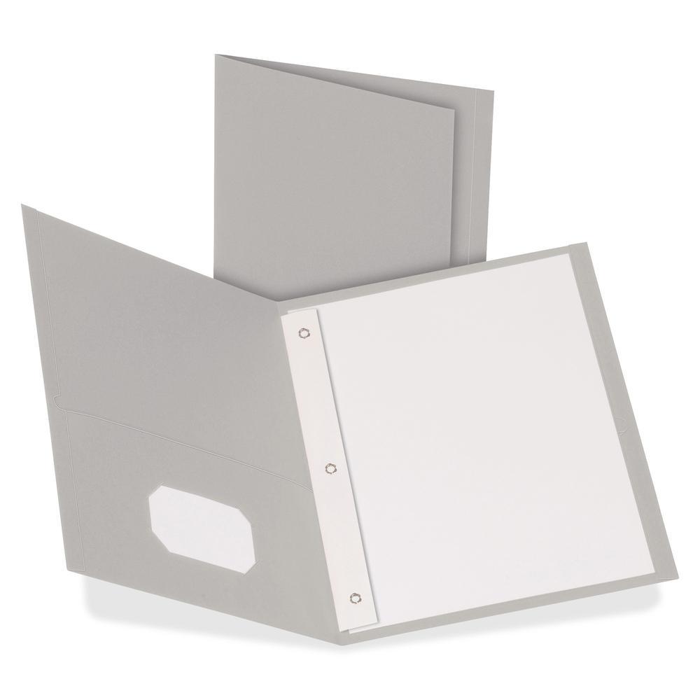 "Oxford Letter Recycled Pocket Folder - 8 1/2"" x 11"" - 3 Fastener(s) - 1/2"" Fastener Capacity for Folder - 2 Inside Front & Back Pocket(s) - Leatherette Paper - Gray - 10% - 25 / Box. Picture 2"