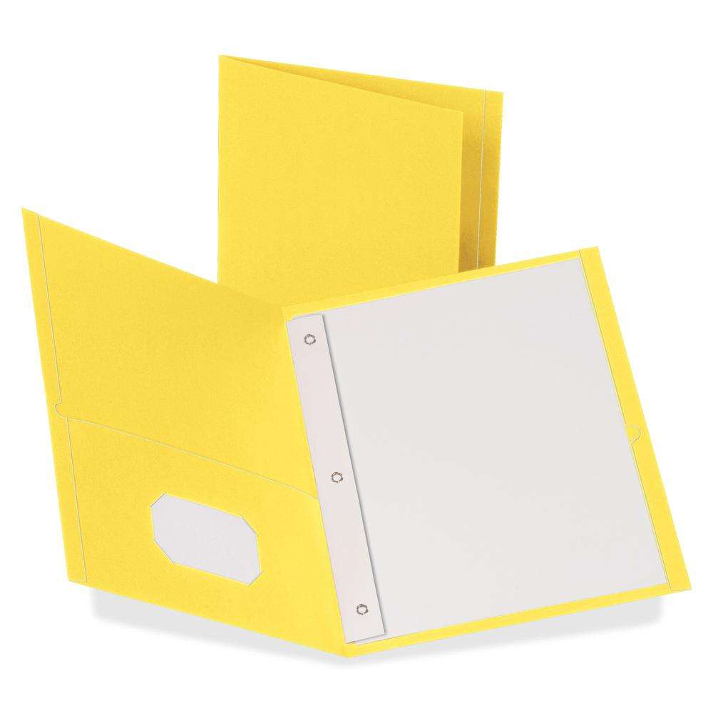 """Oxford Letter Recycled Pocket Folder - 8 1/2"""" x 11"""" - 3 Fastener(s) - 1/2"""" Fastener Capacity for Folder - 2 Inside Front & Back Pocket(s) - Leatherette Paper - Yellow - 10% - 25 / Box. Picture 2"""